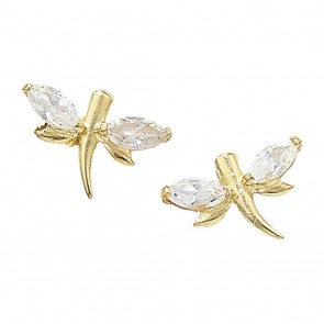 Childrens 9ct Gold Cubic Zirconia Butterfly Stud Earrings