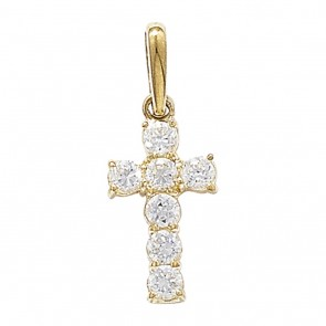 Men's 9ct Gold 7 Stone Cubic Zirconia Cross Pendant On A Curb Necklace