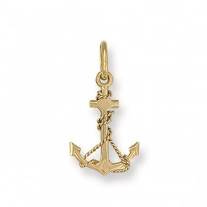 Men's 9ct Gold Anchor Pendant On A Curb Necklace