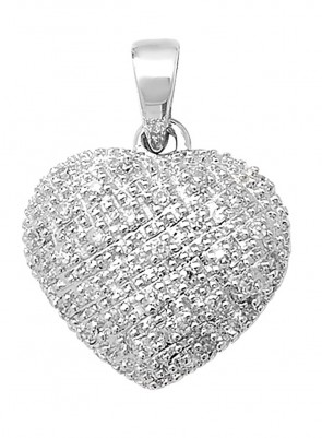 9ct White Gold 0.11ct Diamond Heart Pendant On A Belcher Necklace