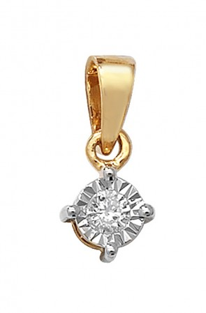 Children's 9ct Gold 0.06ct Illusion Set Diamond Pendant On A Prince of Wales Necklace