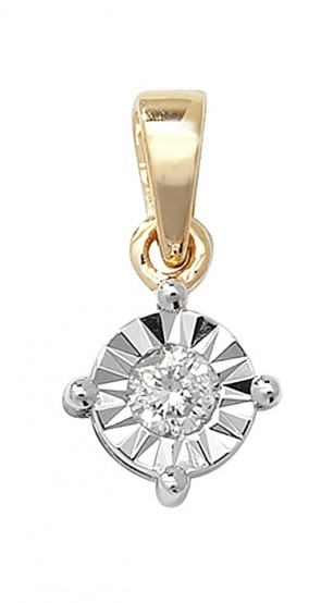 Children's 9ct Gold 0.13ct Illusion Set Diamond Pendant On A Prince of Wales Necklace