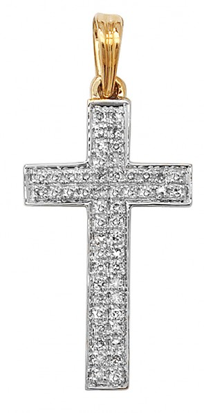 Men's 9ct Gold 0.16ct Pave Set Diamond Cross Pendant On A Curb Necklace