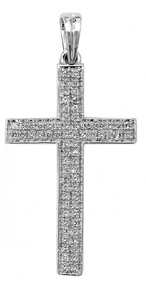 Men's 9ct White Gold 0.26ct Pave Set Diamond Cross Pendant On A Curb Necklace