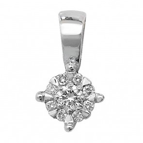 9ct White Gold 0.08ct Diamond Pendant On A Belcher Necklace
