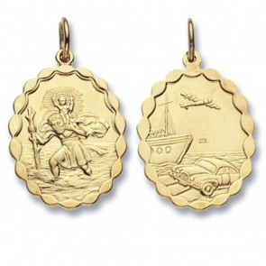 Children's 9ct Gold Oval Double Sided St Christopher Pendant On A Prince of Wales Necklace