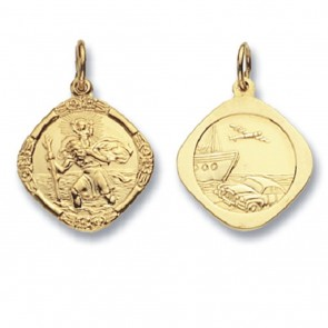 Children's 9ct Gold Double Sided Cushions St Christopher Pendant On A Prince of Wales Necklace