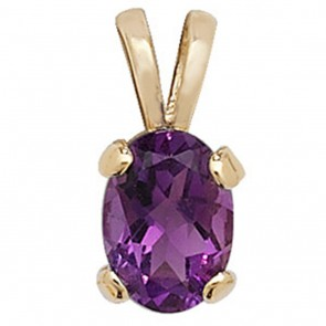 Men's 9ct Gold  Oval Shape Amethyst Pendant On A Curb Necklace