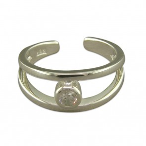Sterling Silver Cubic Zirconia Split Band Toe Ring
