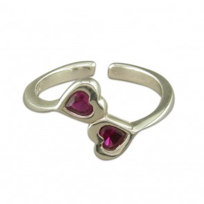 Sterling Silver Opposing Crystal Hearts Toe Ring