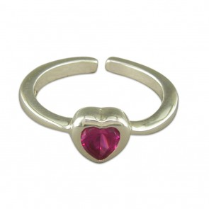 Sterling Silver Crystal Heart Toe Ring