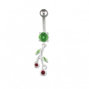 Sterling Silver Green Flower Belly Bar