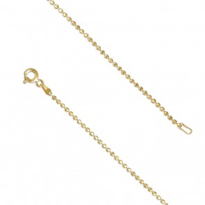 18K Gold Plated 16 Inch Diamond-Cut Bead Chain