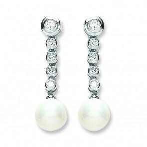 Sterling Silver 10MM Pearl & Cubic Zirconia Drop Earrings