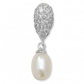 Sterling Silver Pearl & Cubic Zirconia Drop Pendant On A Snake Necklace