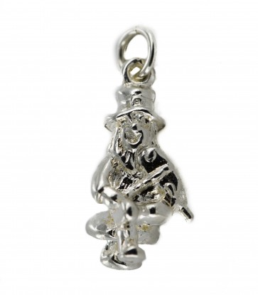 Children's Sterling Silver Leprechaun Sitting on a Toadstall Playing a Fiddle Pendant On A Curb Necklace