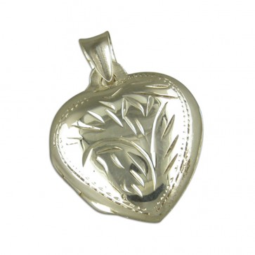 Sterling Silver Medium Domed Heart Locket On A Snake Necklace