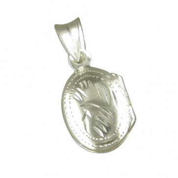 Children's Sterling Silver Medium Engraved Oval Locket On A Curb Necklace