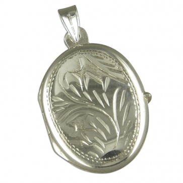 Sterling Silver Medium Engraved Oval Locket On A Snake Necklace
