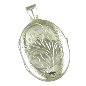 Sterling Silver Large Engraved Oval Locket On A Snake Necklace