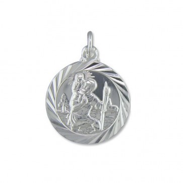 Sterling Silver Medium Double Sided Travel Design St Christopher Pendant On A Snake Necklace