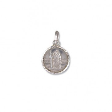 Children's Sterling Silver Small Diamond Cut Round St Christopher Pendant On A Curb Necklace