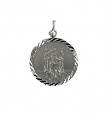 Men's Sterling Silver Medium Diamond Cut Round St Christopher Pendant On A Black Leather Cord Necklace