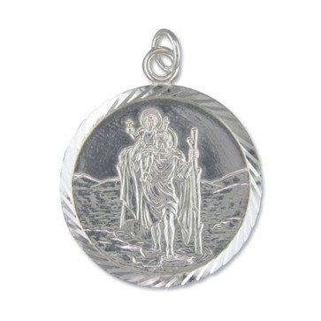 Children's Sterling Silver Extra Large Diamond Cut Round St Christopher Pendant On A Curb Necklace