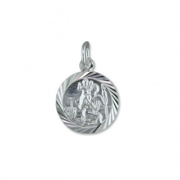 Children's Sterling Silver Round Diamond Cut St Christopher Pendant On A Curb Necklace
