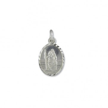 Children's Sterling Silver Medium Diamond Cut Oval St Christopher Pendant On A Curb Necklace