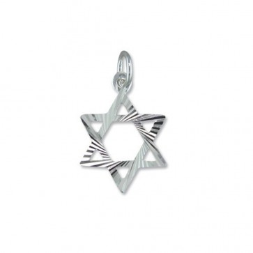 Children's Sterling Silver Star Of David Pendant On A Curb Necklace