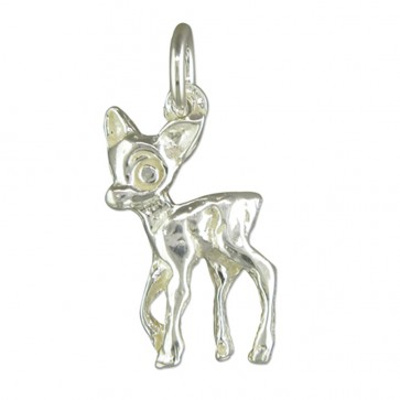 Children's Sterling Silver Bambi Pendant On A Curb Necklace