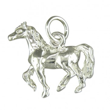 Children's Sterling Silver Horse Pendant On A Curb Necklace
