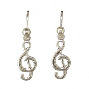 Sterling Silver Treble Clef Drop Earrings