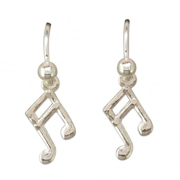 Sterling Silver Musical Note Drop Earrings
