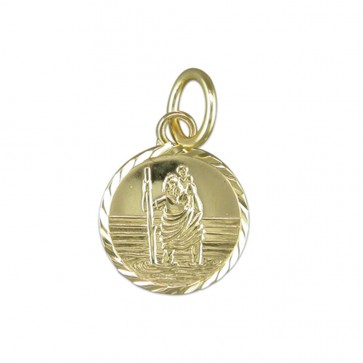Men's 9ct Gold Round Small Diamond Cut St Christopher Pendant On A Curb Necklace