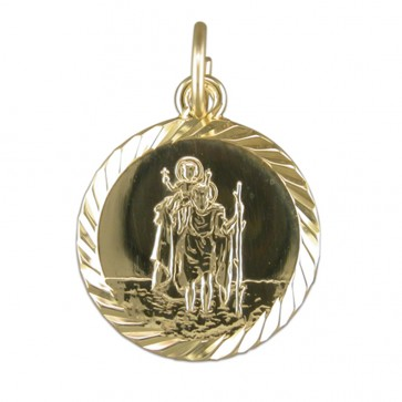 Children's 9ct Gold Round Medium Diamond Cut St Christopher Pendant On A Prince of Wales Necklace