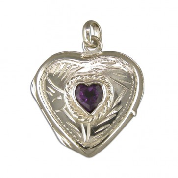Children's Sterling Silver Amethyst Set Large Heart Locket On A Curb Necklace