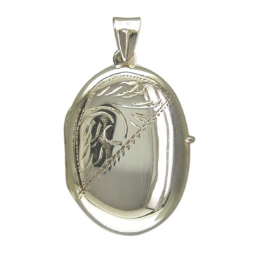 Sterling Silver Large Half Engraved Oval Locket On A Snake Necklace