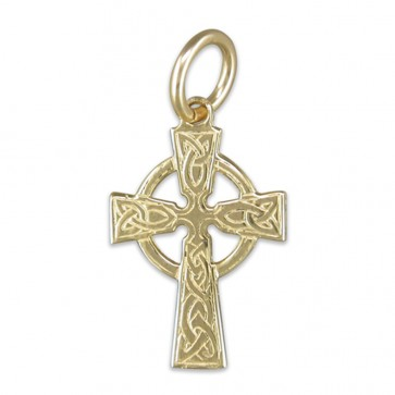 Men's 9ct Gold Small Celtic Cross Pendant On A Curb Necklace
