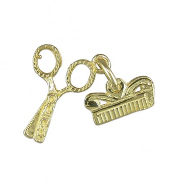Men's 9ct Gold Scissors And Comb Pendant On A Curb Necklace