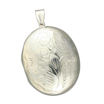 Sterling Silver Large Engraved Oval Locket