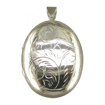 Children's Sterling Silver Extra Large Engraved Flat Oval Locket On A Curb Necklace