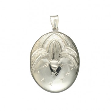 Sterling Silver Large Victorian Engraved Oval Locket On A Snake Necklace