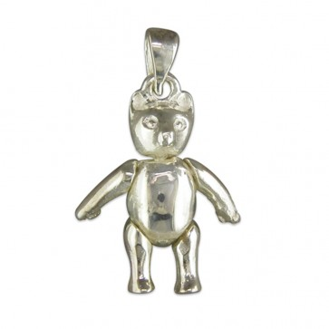 Sterling Silver Small Plain Teddy Bear Pendant On A Snake Necklace