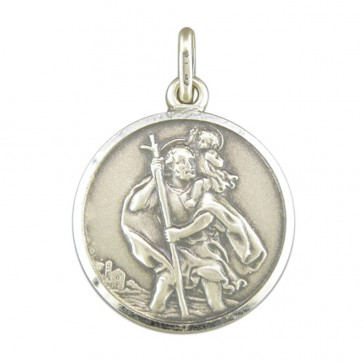 Children's Sterling Silver Large Antique Finish St Christopher Pendant On A Curb Necklace