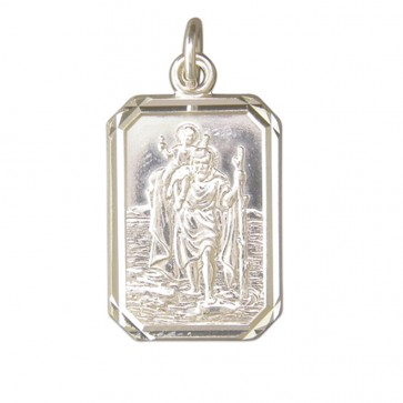 Men's Sterling Silver Large Diamond Cut Oblong St Christopher Pendant On A Black Leather Cord Necklace