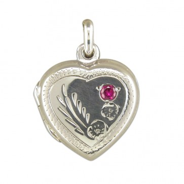 Men's Sterling Silver Engraved Heart With Red Stone Locket On A Black Leather Cord Necklace
