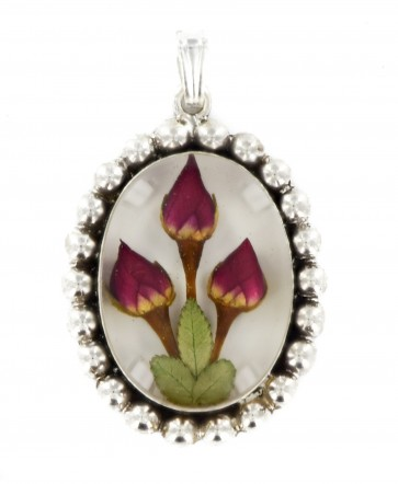 Sterling Silver Real Red Rose Flower Medium Oval Aztec Medallion Pendant