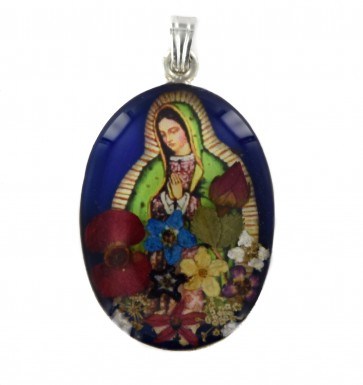 Sterling Silver Real Flower Deep Blue Our Lady of Guadalupe Pendant On A Snake Necklace